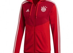 FC Bayern 3 Stripe Full Zip Hoody - Red