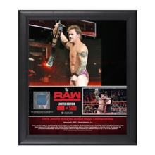 """Chris Jericho """"First U.S. Championship Reign"""" 15 x 17 Framed Plaque w/ Ring Canvas"""