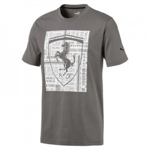 Scuderia Ferrari Big Shield T-Shirt by Puma - Grey