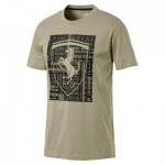 Scuderia Ferrari Big Shield T-Shirt by Puma- Khaki