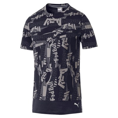 Aston Martin Life All Over Print T-Shirt by Puma - Navy