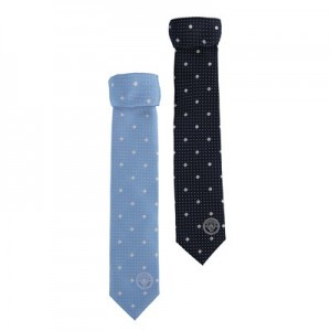 Manchester City 2 Pack Polyester Ties - Sky/Navy