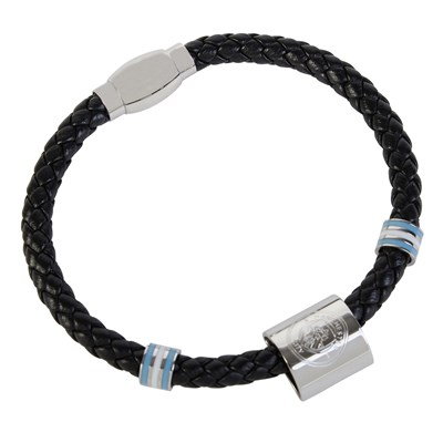 Manchester City Crest Colour Stripe Leather Bracelet - Stainless Steel