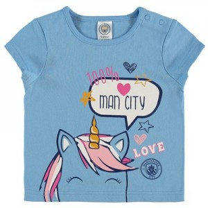 Manchester City Baby Unicorn T Shirt - Sky - Girls