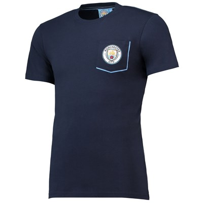 Manchester City Core Pocket T-Shirt with Contrast Colour - Navy - Mens