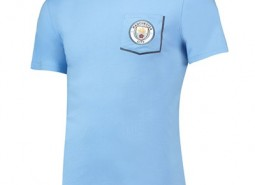Manchester City Core Pocket T-Shirt with Contrast Colour - Sky - Mens