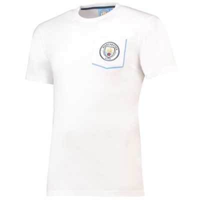 Manchester City Core Pocket T-Shirt with Contrast Colour - White - Mens
