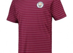 Manchester City Core fine Stripe T-Shirt - Maroon/Sky - Mens