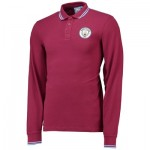 Manchester City Core Long Sleeve Tipped cuff Polo - Maroon - Mens