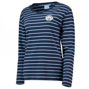 Manchester City Core Stripe Long Sleeve T-Shirt- Navy - Womens