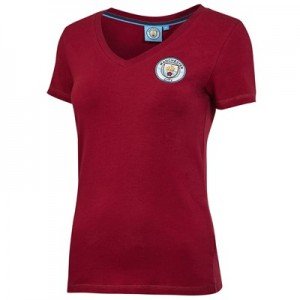 Manchester City Core Basic Crest Short Sleeve T-Shirt - Maroon - Womens