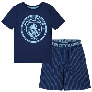 Manchester City Crest T And Woven Short Lounge Set - Navy/ Sky -Boys