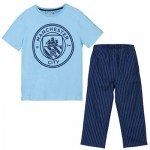 Manchester City Crest T And Woven Bottom Lounge Set - Sky /Navy - Boys