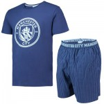 Manchester City Crest T  And Woven Short Lounge Set- Navy/Sky- Mens