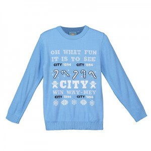 Manchester City Oh What Fun Christmas Jumper - Sky - Junior