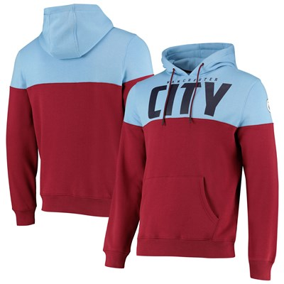 Manchester City Cut & Sew Hoodie - Maroon - Mens