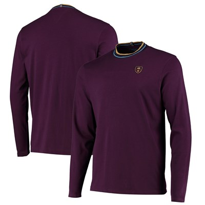 Manchester City Iconics Long Sleeve T Shirt - Maroon - Mens