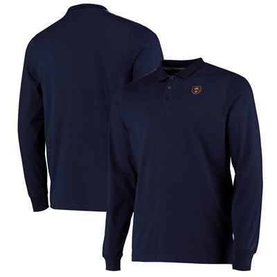 Manchester City Iconics Long Sleeve Rib Panel Polo - Navy - Mens