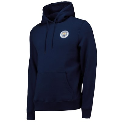 Manchester City Small Crest Hoodie - Navy - Mens