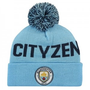 Manchester City Cityzen Wordmark Pom Knit - Sky - Junior
