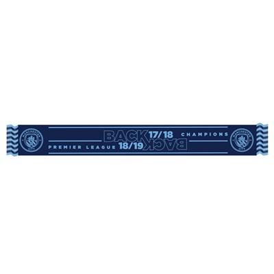 Manchester City Back 2 Back Champions Scarf - Navy - Adults