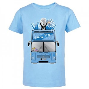 Manchester City Back 2 Back Champions Bus Parade T Shirt - Sky - Kids