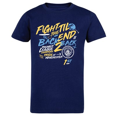 Manchester City Back 2 Back Champions Type T Shirt - Navy - Kids