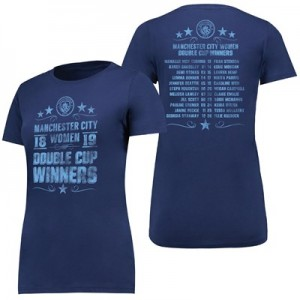Manchester City Double Cup Winners T Shirt - Navy - Womens