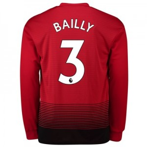 Manchester United Home Shirt 2018-19 - Long Sleeve with Bailly 3 printing