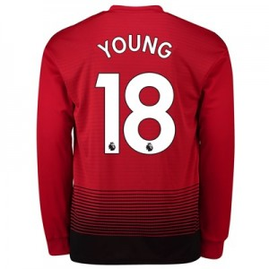 Manchester United Home Shirt 2018-19 - Long Sleeve with Young 18 printing