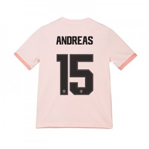 Manchester United Away Cup Shirt 2018-19 - Kids with Andreas 15 printing