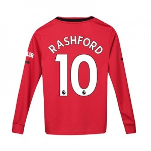 Manchester United Home Shirt 2019 - 20 - Kids - Long Sleeve with Rashford 10 printing