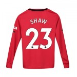 Manchester United Home Shirt 2019 - 20 - Kids - Long Sleeve with Shaw 23 printing
