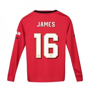 Manchester United Cup Home Shirt 2019 - 20 - Kids - Long Sleeve with James 16 printing