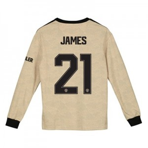 Manchester United Cup Away Shirt 2019 - 20 - Kids - Long Sleeve with James 21 printing