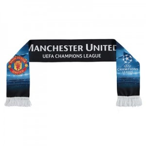 Manchester United UEFA Champions League Printed Scarf - Black - Adult