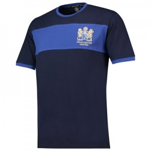 Manchester United 50th Anniversary Contrast Cuff T-Shirt - Navy - Mens