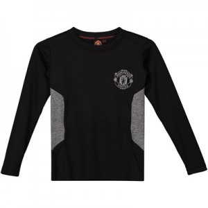 Manchester United Core Long Sleeve Poly T-Shirt - Black/Grey - Junior