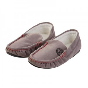 Manchester United Fur Lined Moccasin Slippers - Grey - Mens