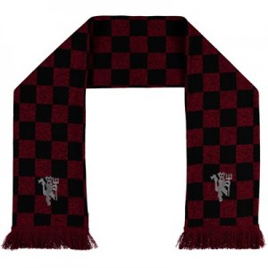 Manchester United Checked Scarf - Red/Black - Adult
