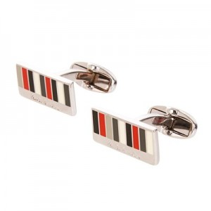 Manchester United x Paul Smith - Men's Red And Grey Stripe Rectangle Cufflinks
