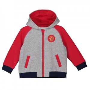 Manchester United Zip Through Contrast Sleeve Hoodie - Grey/Red - Infant