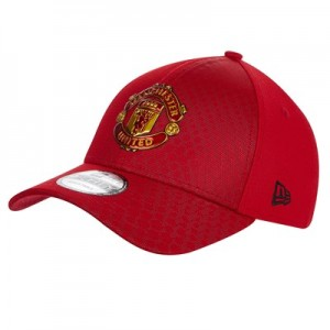 Manchester United New Era 9FORTY Hex Pattern Crest Cap - Scarlet - Adult