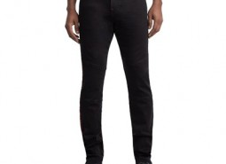 Manchester United True Religion Rocco Skinny Fit Moto Jean with Side Branding - Black - Mens