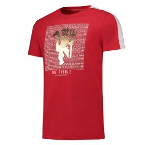 Manchester United T-Shirt with Gold Foil Print - Red - Mens