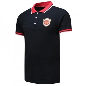 Manchester United Treble Polo Shirt with Red Collar and Contrast Tipping - Black-Mens