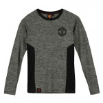 Manchester United Core Long Sleeve Poly T-Shirt - Grey/Black - Boys