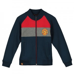 Manchester United Core Stripe Track Jacket - Navy/Red/Grey - Boys