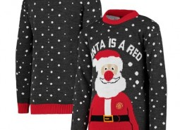 Manchester United Santa is a Red Christmas Jumper - Navy - Kids