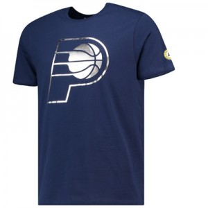 Indiana Pacers Metallic Team Logo Core T-Shirt - Navy - Mens